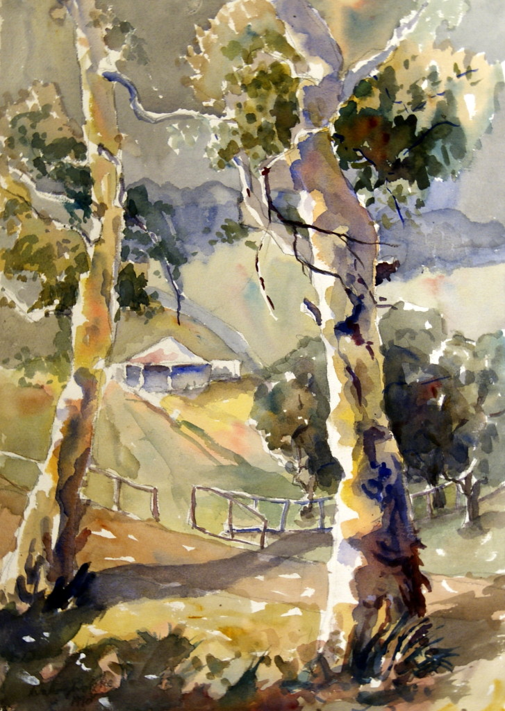 Walter Wotzke Watercolour Hahndorf Gums