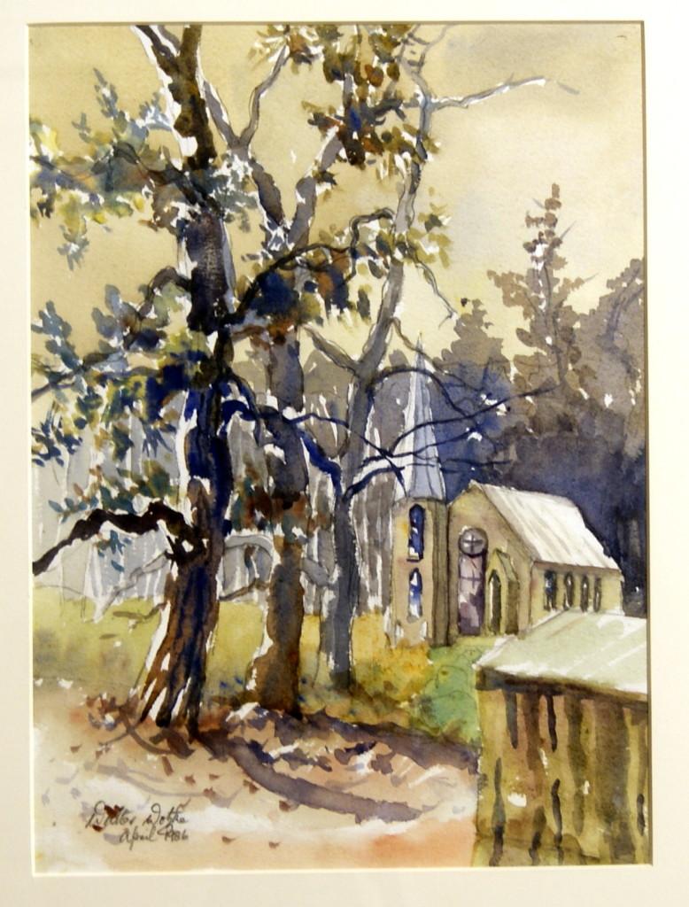 Walter Wotzke Watercolour St Paul's Church Hahndorf